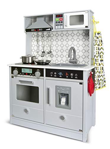 Leomark Grey Modern Cocina eléctrica Madera Infantil con Accesorios: Campana Extractora, microondas, cubitera - Color GRIS- Juguete para Niños Efectos de Sonido de iluminación Dim: 65x30x94 (altura)cm
