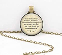You are The Finest. F Scott Fitzgerald Literary Books Librarian Teacher Gift Pendant Necklace or Key Ring