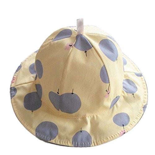 Da. WA Chapeau d'été en Coton Mode Filles Plage Chapeau de Soleil Casquette Chapeau à Large Bord pour Enfants (Jaune)