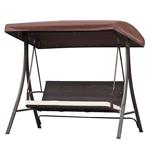 Angel Living Hollywoodschaukel Gartenschaukel Rattan 3 Sitzer mit Sonnenschutz Schaukel Stuhl 3 Sitz Swinging Hängematte