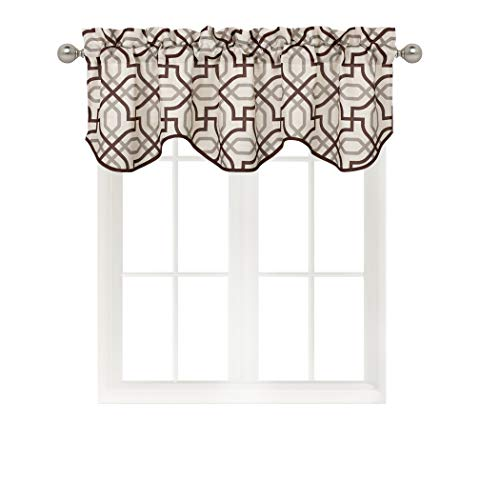 Home Queen Rod Pocket Print Curtain Valance Window Treatment for Living Room, Short Straight Drape Valance, Set of 1, 54 X 18 Inch, Brown