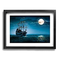 アートパネル フォトフレーム 絵画 壁掛け油彩画 月の夜の下のファンタジー船のボート Framed Painting 抽象画 壁の絵 壁掛け ソファの背景絵画 壁アート新築飾り 贈り物 30x40cm
