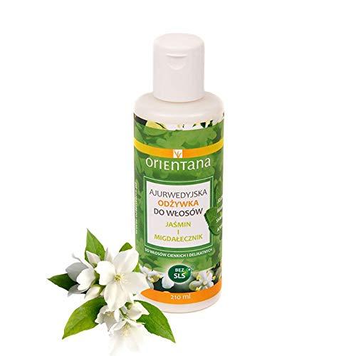 Orientana ayurvedische Haarspülung mit JASMIN UND INDISCHEM MANDEL – 100% Vegane, 99% Natürliche, ohne Silikone, verleiht dem Haar ein gesundes Aussehen, 210 ml