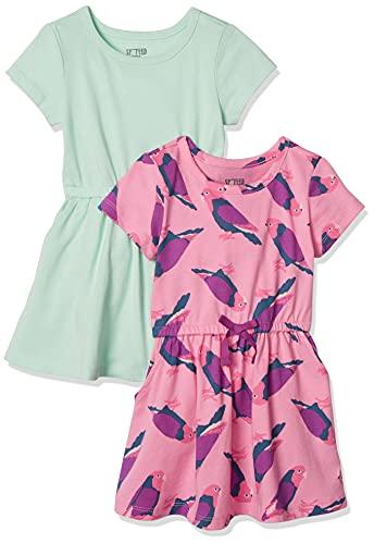 Amazon-Marke: Spotted Zebra Strickkleid mit Tutu für Mädchen, Kurzarm, mit Kordelzug an Taille, 2er-Pack, Birds/Aqua, US XS (4-5) (EU 104-110 CM)