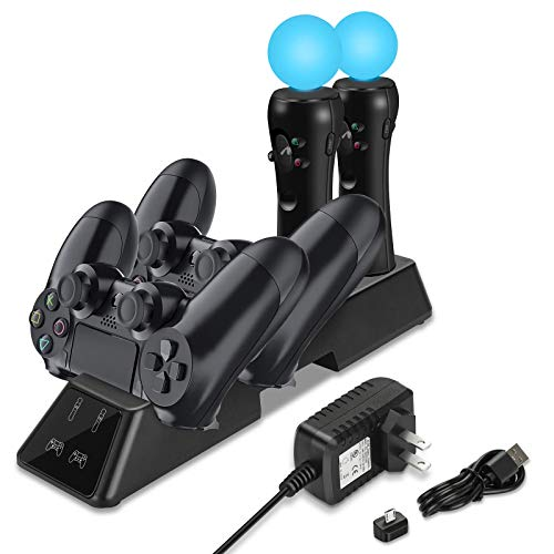Upgraded PS4 Controller Charger, 4 in 1 Controller Charging Station Dock with Wall Adaptor, Quad Charger Compatible with Sony Playstation4 / PS4 / PS4 Slim / PS4 Pro Controller
