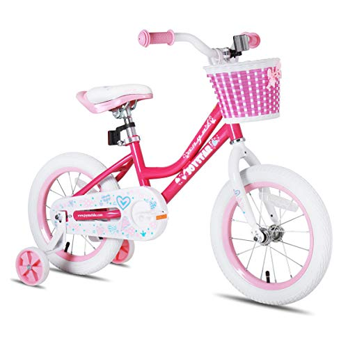 JOYSTAR 14 Inch Kids Bike for Girls with Training Wheels & Basket for 3 4 5 6 Years Kids, Child Bicycle with Basket, Children Cycling, Pink