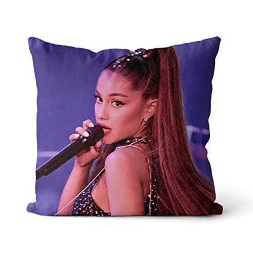 Cojín decorativo Ariana Grande una funda de almohada cuadrada maciza de algodón de terciopelo holandés, decoración para el sofá, el coche, el dormitorio, 15,7 x 15,7 cm