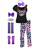 POKERGODZ 80s Girl Child T-Shirt and Leggings Complete 1980s Party Costume Accessories (7-8, 80s Purple)