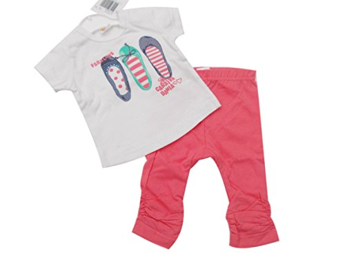 BNWT T-shirt et leggings en coton 2 pièces pour bébé fille (6 mois 68 cm, blanc top rose)