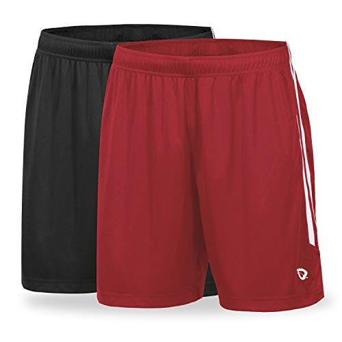 BALEAF Men's 6.5'' Lightweight Athletic Soccer Shorts Loose-fit UPF 50+ Gym Workout Training with Drawstrings 2 Pack Black/Red Size M