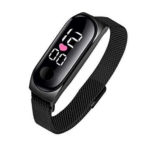 2020防水女性のデジタル腕時計LEDスポーツウォッチファッションメッシュストラップレディース電子腕時計 (Color : Black Color)
