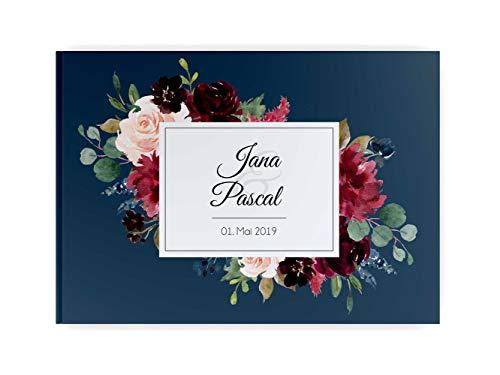 PaperMaid Gästebuch Hochzeit Aquarell Bordeaux & Blue mit Namen und Datum Hardcover DINA4 Quer (mit vorgedruckten Fragen)