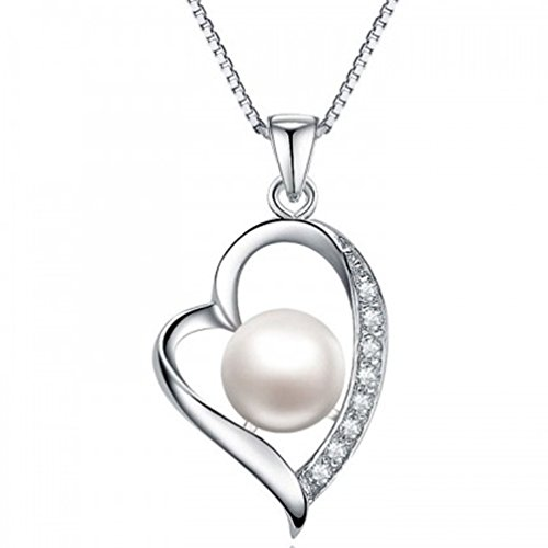 LC/_ Bijoux Argent 925 Plaqué Cristal Perle Chaine Collier Pendentif Femmes