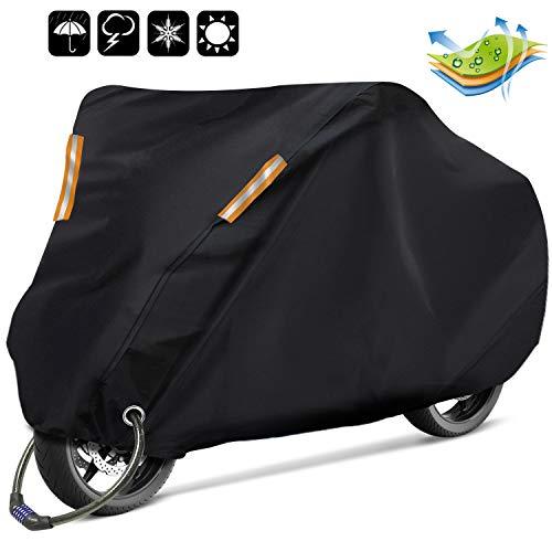 RATEL Funda para Moto, Cubierta de la motocicleta, Funda de moto de tela Oxford 210D renovada, impermeable y resistente al viento: antipolvo y antirrobo con una bolsa de almacenamiento (265*125*105cm)