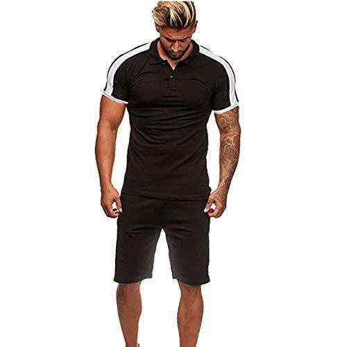 riou Camiseta superior de manga corta Casual para hombre de verano + Costura Pantalones cortos Traje deportivo para Entrenamiento Deportivo Fitness Corriendo