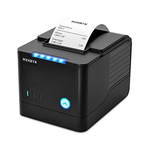 Thermodrucker Bondrucker 80mm Quittungsdrucker MUNBYN 260mm/s Bon drucker Auto-Cut Kassenlade, Hochgeschwindigkeits Ethernet (LAN), ESC/POS eingestellt-EU Schwarz