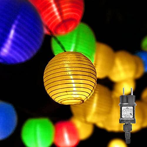 Gresonic 20er Bunt LED Lichterkette Lampion/Laternen Deko für Garten Weihnachten Party Hochzeit Innen und Außen mit dem Stecker
