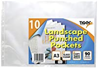 10 A3 Landscape Punched Pockets - Plastic Poly Sleeves Document, Wallets File