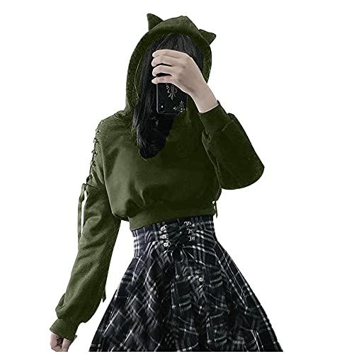 FMYONF Sudadera con capucha para mujer de Cat Ears, de manga larga, con cordones, estilo gótico, Verde del ejército., XXL