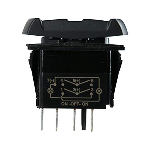 Amarine Made 12v 20 Amp Waterproof On-Off-On 2 Position Boat Marine DPDT 7 Pin Rocker Switch with 2 Led Lamps (Blue)