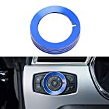 DXGTOZA Aluminum Alloy Headlight Lamp Control Button Switch Knob Cover Ring Trim Interior Accessories for Ford Mustang 2015-2020 F150 -Blue