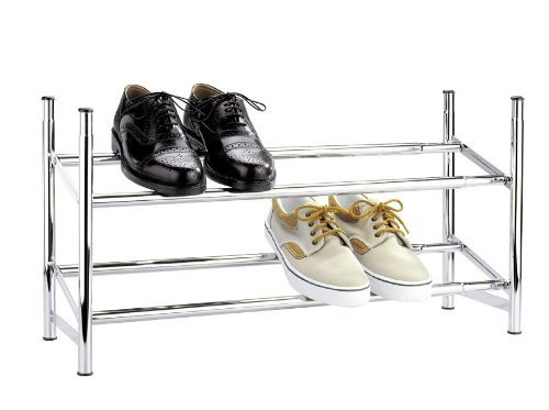 WENKO Schuhregal ausziehbar, geräumige Schuhaufbewahrung für 10 Paar Schuhe, stapelbar, auch für den begehbaren Kleiderschrank, 62-115 x 35 x 23 cm, in Chrom-Optik