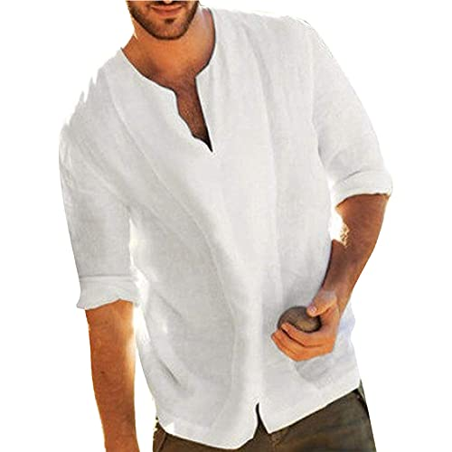 Camisas de lino para hombre de manga larga camisetas de verano hippie casual playa tops algodón lino Henley camisa, blanco, 3XL