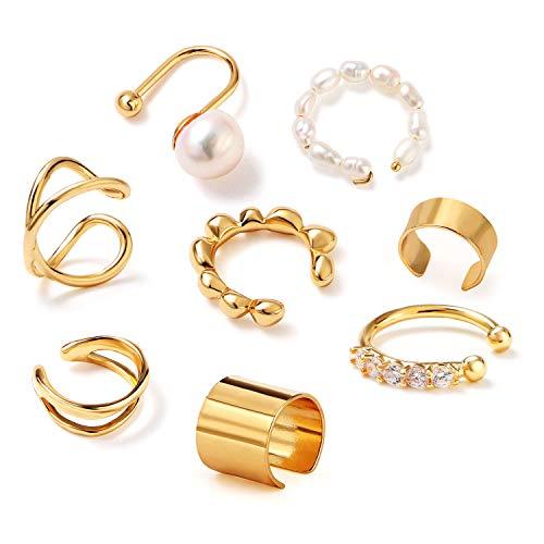 Tacobear 8 Stück Ear Cuff Nicht Piercing Ohr Manschette Gold Clip Knorpel Allergie Verhindern Ohrringe Knorpel Perlen für Damen Mädchen