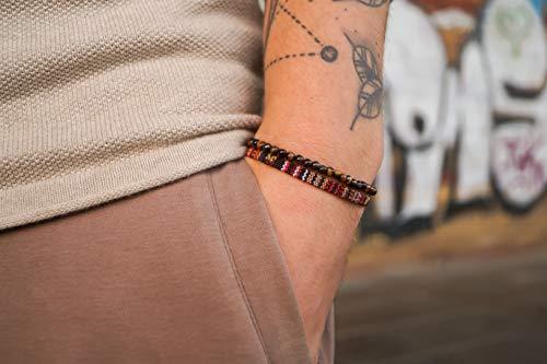 Made by Nami Boho Surfer-Armband 2er Set Herren & Damen - Handmade Strand Festival Accessoires - Azteken-Band Ethno Style - Männer Frauen Perlen-Armband - 100{681ee3a67a02081e3313c11b7261031dcc4f5979d08bc0c4196c8ebdc44769cf} Wasserfest (Braun & Tigerauge)