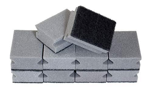 Sonty 10 Stück Topfreiniger Premium, Spülschwamm für hartnäckigen Schmutz, Schwamm mit Schleifmittel, 9 x 7 x 4 cm schwarz/grau