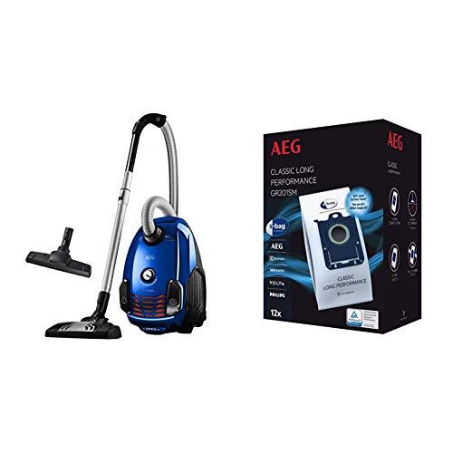 AEG VX6-2-IS-P Aspiradora de Trineo con Bolsa de Potencia, Ruedas 360º, Filtro Especial Alergias + GR201SM Mega Plack Bolsa S-Bag Classic Long Performance