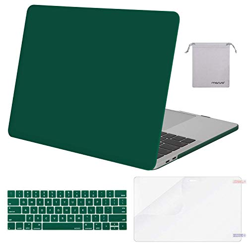 MOSISO MacBook Pro 13 inch Case 2019 2018 2017 2016 Release A2159 A1989 A1706 A1708, Plastic Hard Shell &Keyboard Cover &Screen Protector &Storage Bag Compatible with MacBook Pro 13, Peacock Green