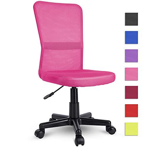 TRESKO Silla de Oficina Escritorio giratoria, Disponible en 7 Variantes de Colores, con Ruedas para Suelos Duros, Regulable en Altura de Forma Continua, Asiento Acolchado, Respaldo ergonomico (Rosa)