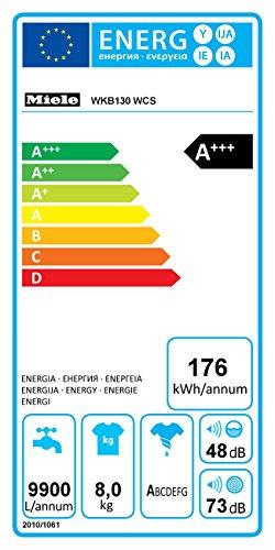 Miele WKB130 WCS – Lavadora (Independiente, Color blanco, Frente, 8 kg, 1600 RPM, A)