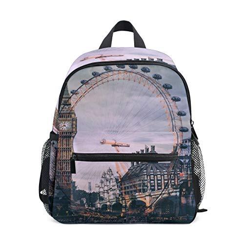QMIN - Mochila para niños, diseño de Big Ben de Londres, con Ruedas, para niños pequeños