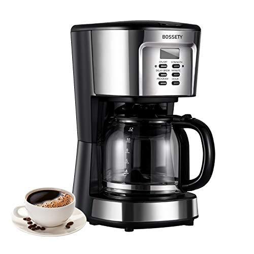 Kaffeemaschine, BOSSETY 12 Tasse Kaffeemaschine Intelligente programmierbare Kaffeemaschine, Latte und Cappuccino Kaffeemaschine mit Karaffenfilterkorblöffel Silber 1200ml