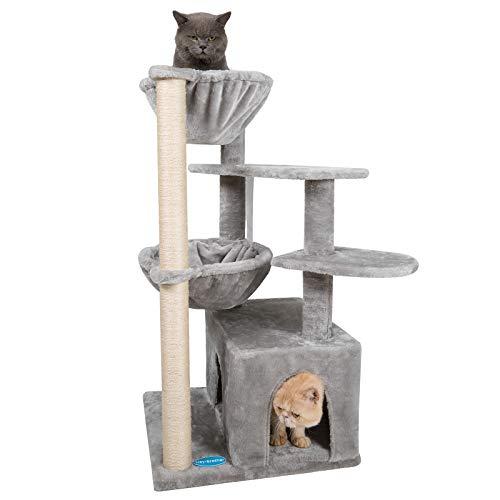 Hey-brother 100cm Árbol para Gato, Torre de Escalada de Varios Niveles, Árbol Rascador para Gatos, con 1 Cesta Flotante, Nidos, Poste De Rascar De Sisal Natural, Gris Claro EMPJ008W