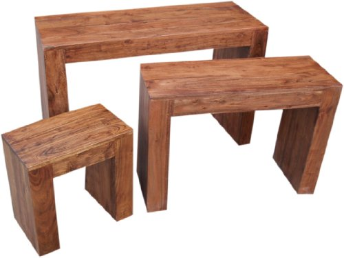 Guru-Shop Stoelset - R1000, Acaciahout, Maat: Medium, 66x53x35 cm, Salontafels Vloertafels