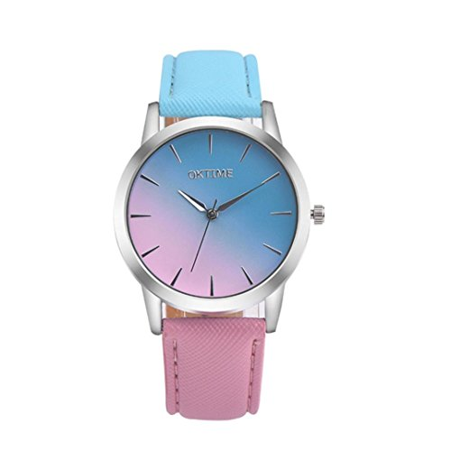 HARRYSTORE 2017 !! Reloj Retro Arco Iris de diseño Banda de Cuero de aleación analógica Cuarzo Reloj de Pulsera (Azul)