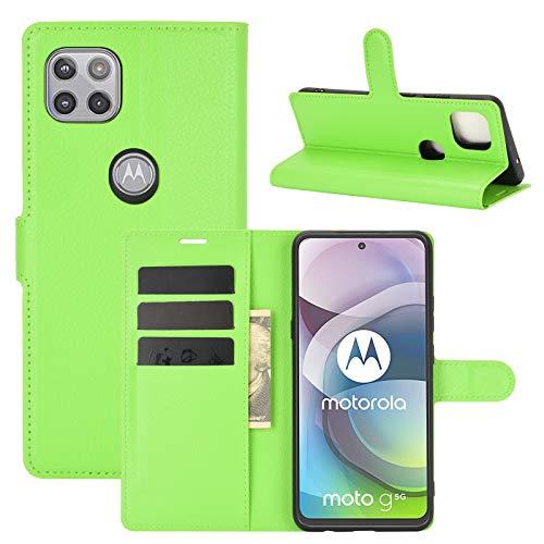Fertuo Hülle für Motorola Moto G 5G, Handyhülle Leder Flip Hülle Tasche mit Standfunktion, Kartenfach, Magnetschnalle, Silikon Bumper Schutzhülle Cover für Motorola Moto G 5G, Grün