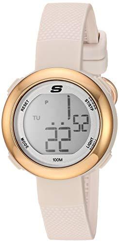 Skechers Mini Digi – Reloj digital deportivo de cuarzo para mujer (plástico y silicona), Oro rosa/rubor.