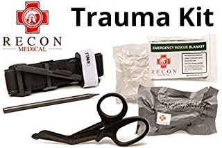Recon Medical Pack -Includes Recon Medical GEN 3 Black Tourniquet Kevlar, Titanium Trauma Shears, Trauma Bandage, Compressed Gauze, Emergency Blanket, Carbon Pencil. First Aid-Vacuumed Sealed Bag