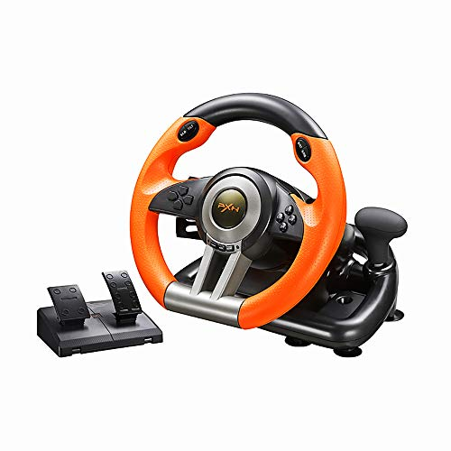 PXNV3II PC Racing Wheel, 180 Degree Universal Usb Car Racing Game Steering Wheel with Pedal for Windows PC, PS3, PS4, Xbox One, Nintendo Switch(Orange)