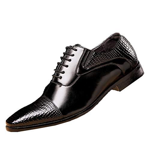 Zapatos Formales para Hombre, Zapatos Oxford Vintage de Retazos con patrón Dividido, Elegantes Zapatos de Cuero con Cordones Informales con Punta Puntiaguda para Fiesta