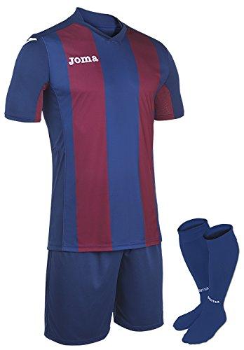 Joma–Set Pisa V Azul-burd camiset M/C + Short + Calze per Uomo
