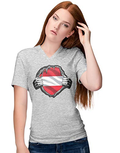 BLAK TEE Mujer Superheroes Costume Austria Flag Camiseta V-Neck M