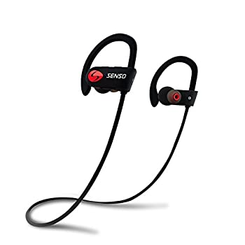 SENSO Bluetooth Headphones Best Wireless Sports Earphones w/Mic IPX7 Waterproof HD Stereo Sweatproof Earbuds for Gym Running Workout 8 Hour Battery Noise Cancelling Headsets