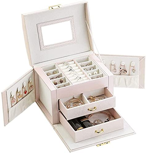 Caja de joyería, caja de joyería grande, caja de joyería de cuero, con espejo, adecuado para reloj collar pendientes pulsera, familia y amigos