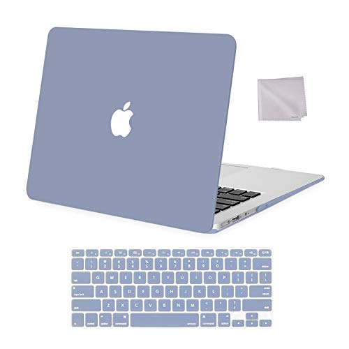 MOSISO Compatible with MacBook Air 13 inch Case A1369 A1466 Older Version 2010-2017 Release, Plastic Hard Shell Case & Keyboard Cover Skin & Wipe Cleaning Cloth, Lavender Gray