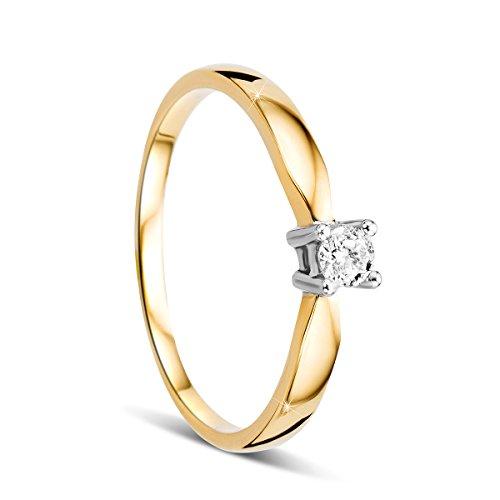 Orovi Damen Verlobungsring Gold Solitärring Diamantring 14 Karat (585) Brillianten 0.10crt Zweifarb/Weißgold und Gelbgold Ring mit Diamanten Ring Handgemacht in Italien
